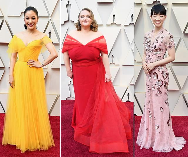 All that colour! This year's red carpet wasn't shy of a bold ensemble. *(Image: Getty)*