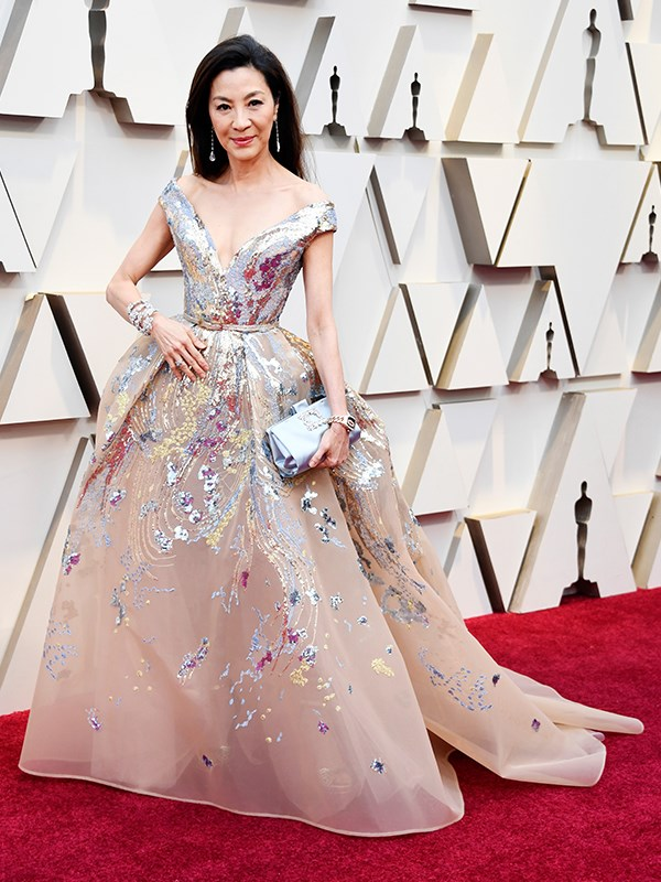 *Crazy Rich Asians* star Michelle Yeoh is looking on-point in Elie Saab to present an award during the ceremony.