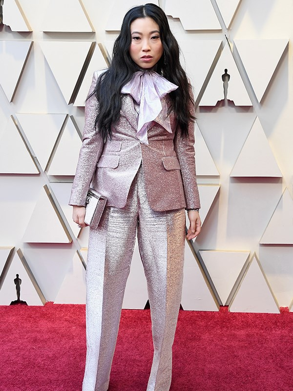 *Crazy Rich Asians* star Awkwafina takes fashion risks at the best of times, and this glitzy pink DSquared2 pant suit is case in point!