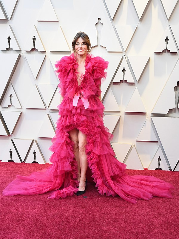 We'll just let this one simmer for a while... wearing an explosion of pink ruffles, there's no denying Linda Cardellini is making a *big* impression this year.