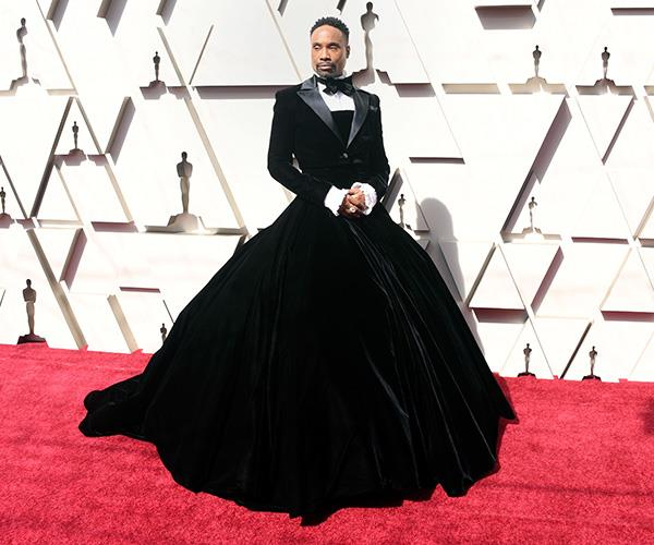 Finally, Billy Porter totally owned the Oscars in this tux/gown combo. Praise be to the star for flipping red carpet tradition on its head and absolutely nailing it. *(Image: Getty)*