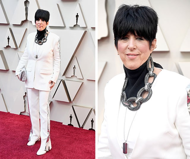 Best Original Song nominee Diane Warren might be getting a sore neck tonight as that chain necklace looks mighty heavy. *(Image: Getty)*