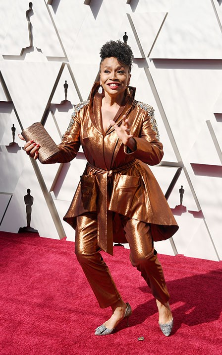 Actor Jenifer Lewis might not be nominated for an Oscar tonight but that hasn't stopped her from dressing like one in this gold custom suit by Diego Montoya. *(Image: Getty)*