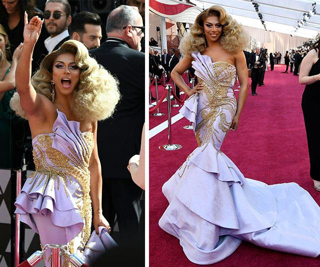 We are not worthy of the goddess that is *A Star is Born*'s Shangela. The *RuPaul's Drag Race* favourite looked fierce in this figure-hugging fishtail number. And let's just take a moment to appreciate the volume of that hair! *(Images: Getty)*