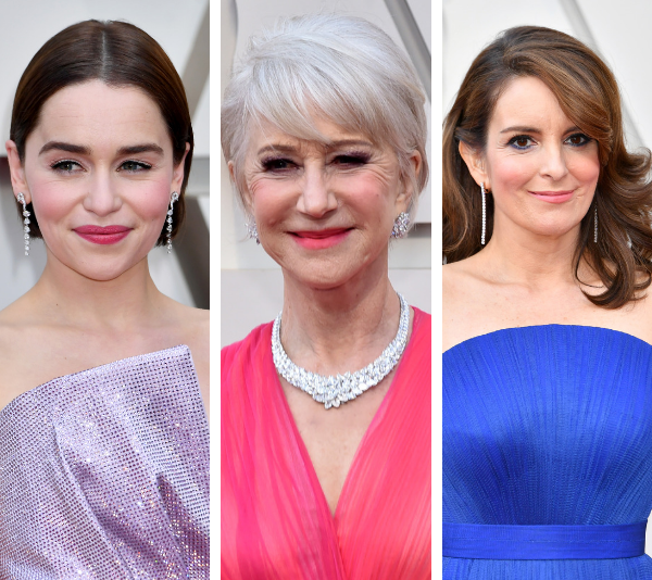 Emilia Clarke, Helen Mirren and Tina Fey on the red carpet. *(Image: Getty)*