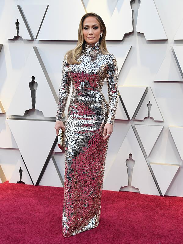 Walking disco ball Jennifer Lopez nails it once again in this showstopping metallic look by Tom Ford.