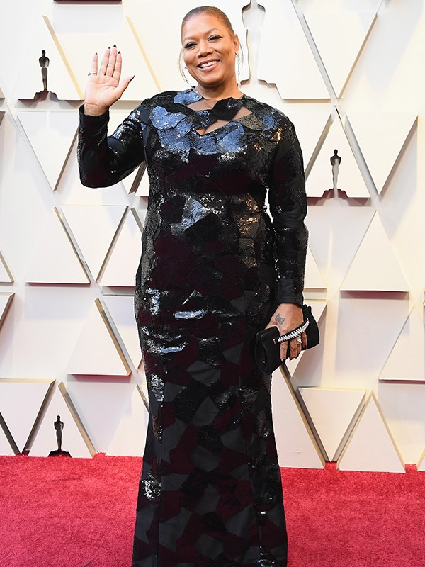 Queen of screens Queen Latifah is all-glam in a sequined black creation.