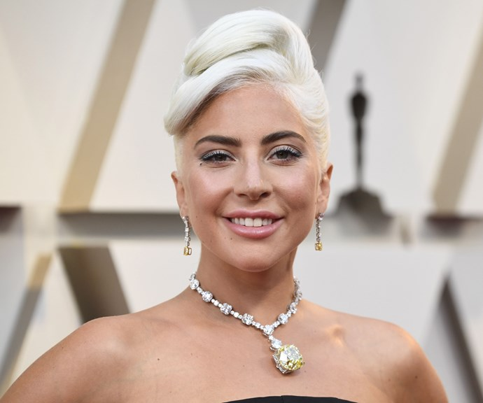 Gaga is channelling blonde *Breakfast At Tiffany's* vibes here. *(Image: Getty)*