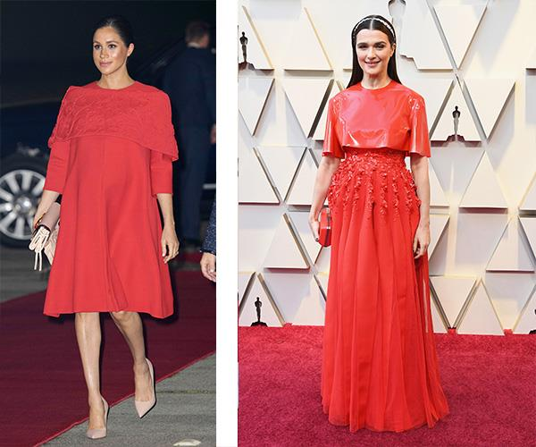 "Best Supporting Actress nominee Rachel Weisz is giving us [major Duchess Meghan vibes...](https://www.nowtolove.com.au/royals/british-royal-family/meghan-markle-prince-harry-morocco-54297|target=""_blank"") but with a weird latex/bondage twist. *(Images: Getty)*"