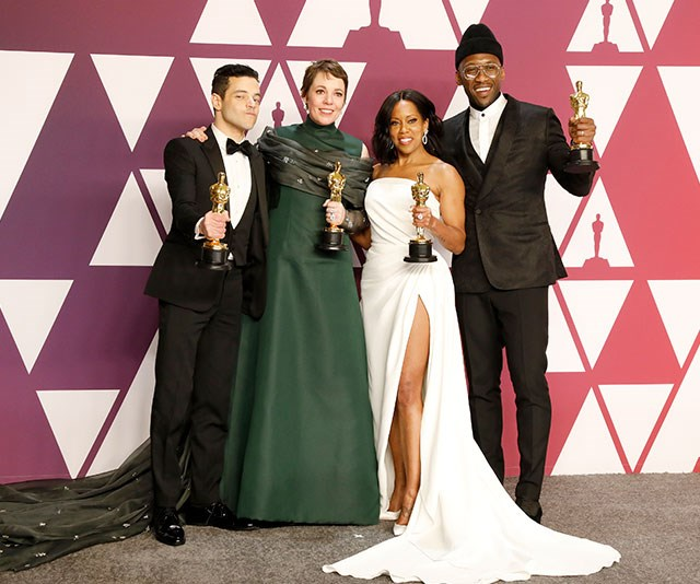 The class of 2019: Rami Malek (Best Actor in a Leading Role: *Bohemian Rhapsody*), Olivia Colman (Best Actress in a Leading Role: *The Favourite*), Regina King (Best Actress in a Supporting Role: *If Beale Street Could Talk*) and Mahershala Ali (Best Actor in a Supporting Role: *Green Book*) show off their Oscars.