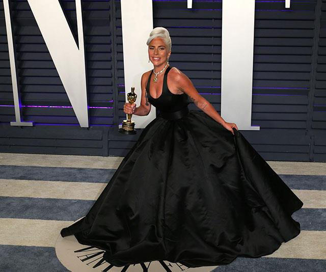 Gaga and her gong, it doesn't get much better than this! *(Image: Getty)*