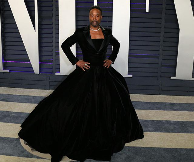 Fresh from slaying the red carpet earlier in the day, Billy Porter shimmied into another tux-gown combo but this time it had an elegant evening twist. *(Image: Getty)*