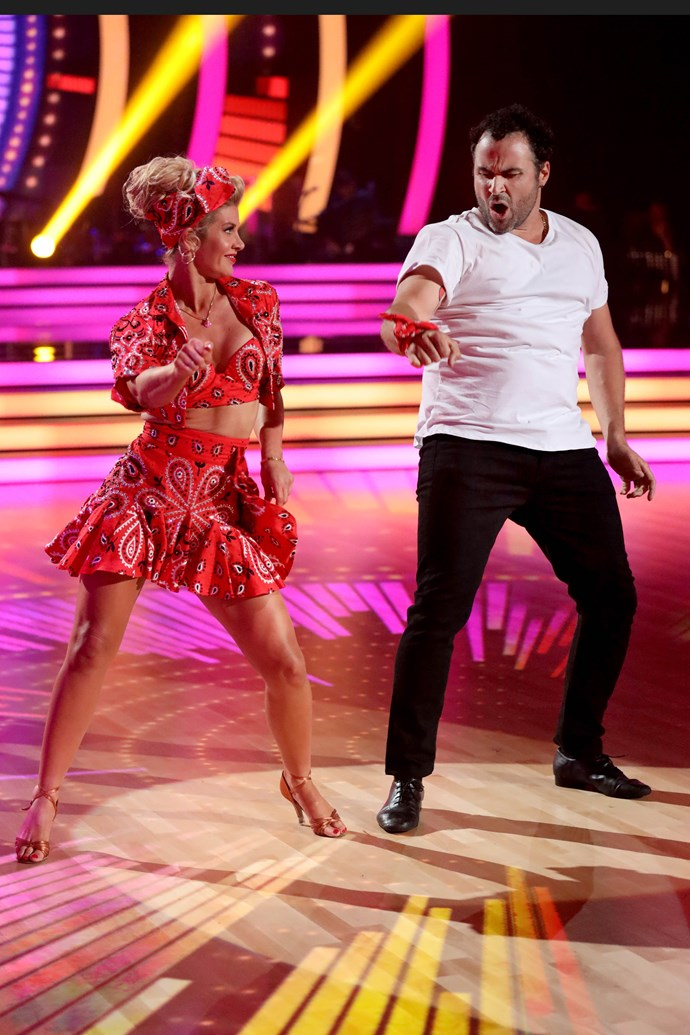 Miguel and his partner Megan on the premiere episode of *DWTS*. *(Image: Channel 10)*