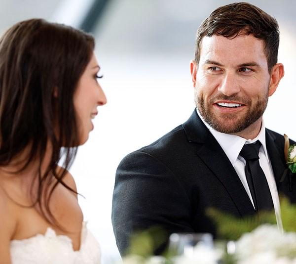 Married at First Sight Australia groom Daniel Webb during his wedding to Tamara Joy.