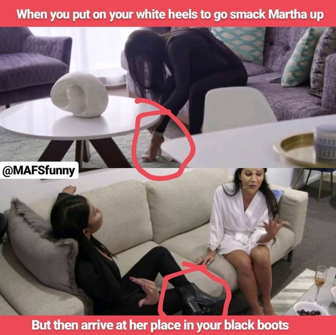 Heels to boots! Was the argument staged? *(Source: Instagram/MAFSFunny)*