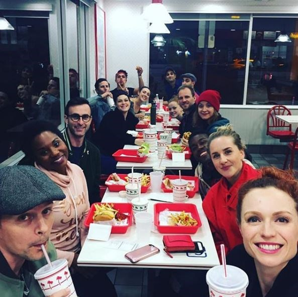 Jeanna shared a photo of the musical cast enjoying a fast-food break between rehearsals. *(Image: Instagram / @thebigdewaal)*