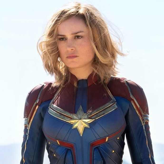 **Captain Marvel** *(in cinemas March 7)* Carol Danvers (Brie Larson) is a former U.S. Air Force fighter pilot who becomes a powerful superhero, hello Captain Marvel, when Earth is caught in a galactic war between two alien races.   *(Image: Disney/Marvel)*