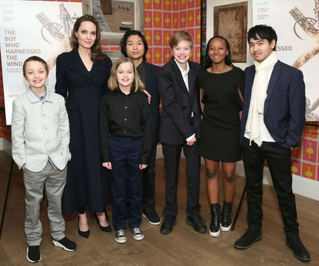 Angelina Jolie with children Knox Leon Jolie-Pitt, Vivienne Marcheline Jolie-Pitt, Pax Thien Jolie-Pitt, Shiloh Nouvel Jolie-Pitt, Zahara Marley Jolie-Pitt and Maddox Chivan Jolie-Pitt attend *The Boy Who Harnessed The Wind* Special Screening  in New York City, February 2019. *(Image: Getty Images)*
