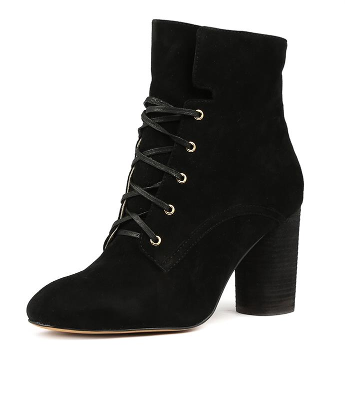 "Mollini Esking boot, [available from Style Tread](https://www.styletread.com.au/esking-black-suede.html|target=""_blank""), $109.97. *(Image: Style Tread)*"