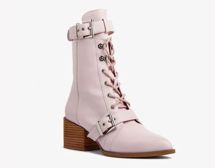"Mi Piaci Dax Biker Boot, [available from Mi Piaci](https://www.mipiaci.com.au/shoes/ankle-boots/dax-biker-boot-249139|target=""_blank""|rel=""nofollow""), $320."
