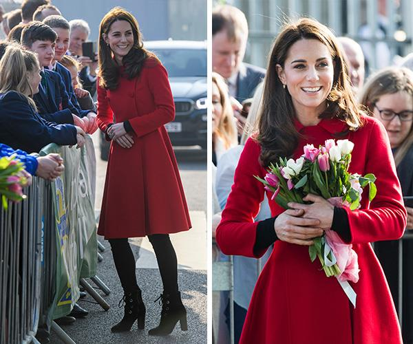 Duchess Catherine was gifted with many beautiful blooms as she arrived in Ireland. *(Images: Getty Images)*