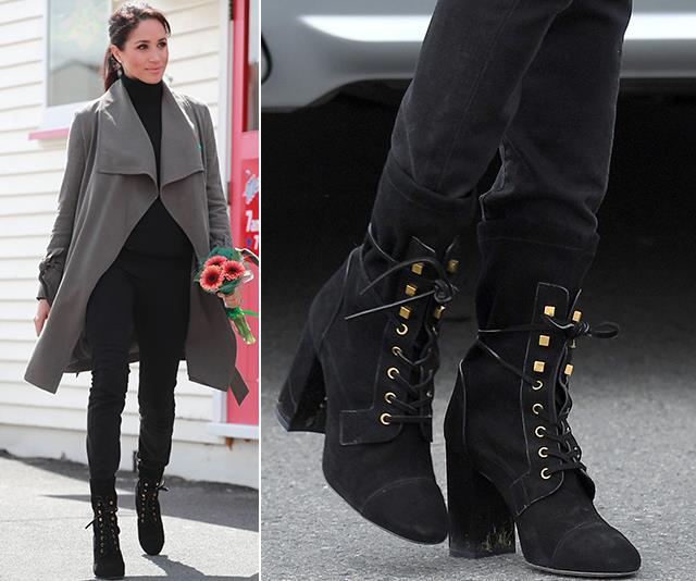 Meghan's Stuart Weitzman boots are also bang on trend this winter. *(Images: Getty)*