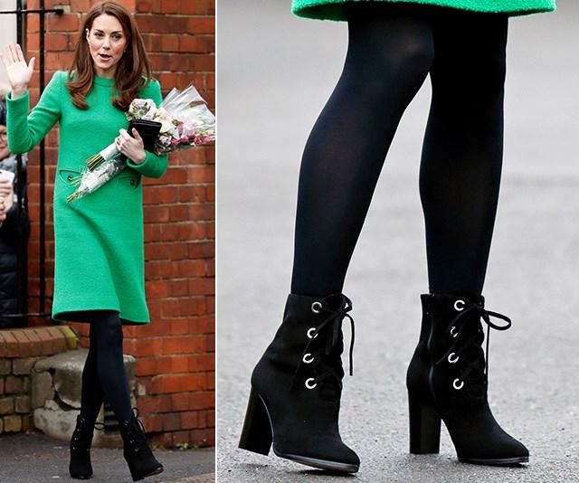 Kate's favourite black lace-ups are courtesy of British designer L.K. Bennett. *(Image: Getty)*