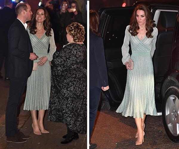 Kate stunned in a beautiful pleated mint Missoni gown. *(Image: Getty)*
