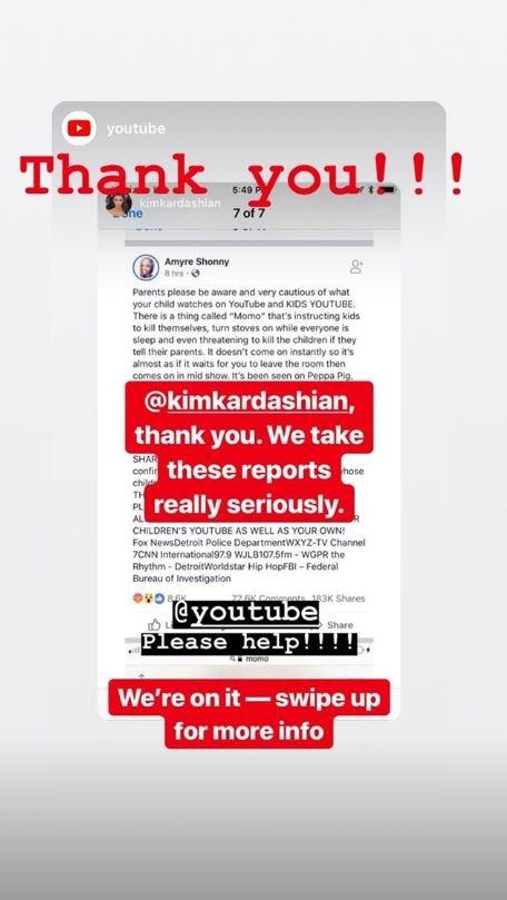 YouTube are working to fight the Momo Challenge popping up on their service thanks to Kim Kardashian. *(Image: Instagram @kimkardashian)*