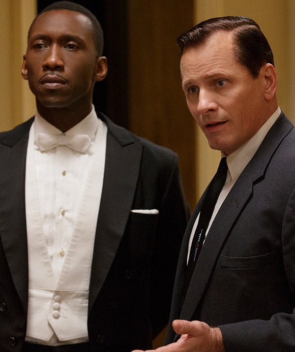Pianist Dr Don Shirley (Mahershala Ali) and his driver Tony Lip (Viggo Mortensen) in Green Book, the 2019 Academy Award winner for Best Picture. *(Image: Entertainment One)*