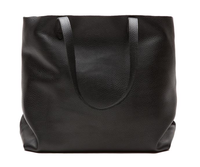 The Cuyana black tote. *(Image: Cuyana)*