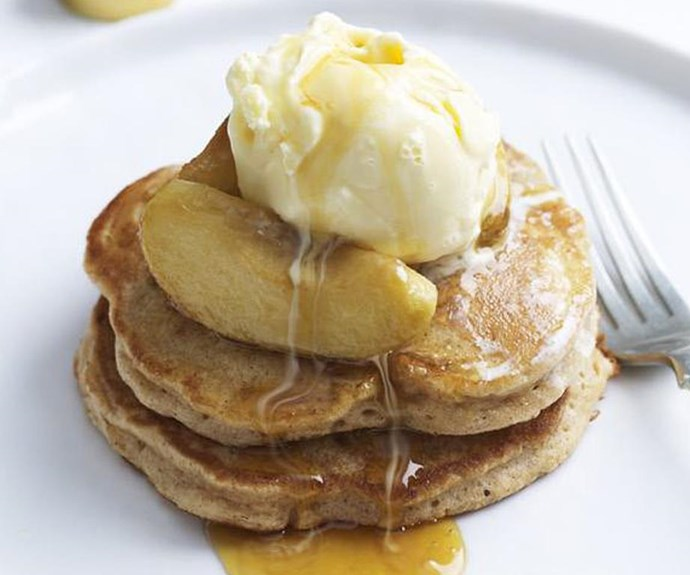 """**Apple and cinnamon pancakes with maple syrup** <br><br> Pancakes need syrup like apples need cinnamon. Combine all four and you have pure delight. Make sure you get the real maple syrup for this dish. The artificially flavoured stuff just isn't the same. <br><br> See the full *Australian Women's Weekly* recipe [here](https://www.womensweeklyfood.com.au/recipes/apple-and-cinnamon-pancakes-with-maple-syrup-15223