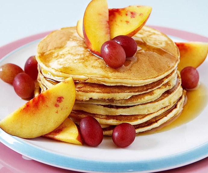 """**Ricotta pancakes** <br><br> Serve up these simple, fluffy ricotta pancakes with sliced fresh fruit and a drizzle of syrup for a delightful brunch for your loved ones. <br><br> See the full *Australian Women's Weekly* recipe [here](https://www.womensweeklyfood.com.au/recipes/ricotta-pancakes-10633