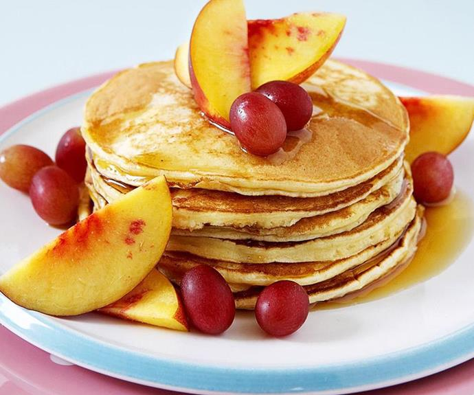 "**Ricotta pancakes** <br><br> Serve up these simple, fluffy ricotta pancakes with sliced fresh fruit and a drizzle of syrup for a delightful brunch for your loved ones. <br><br> See the full *Australian Women's Weekly* recipe [here](https://www.womensweeklyfood.com.au/recipes/ricotta-pancakes-10633|target=""_blank"")."