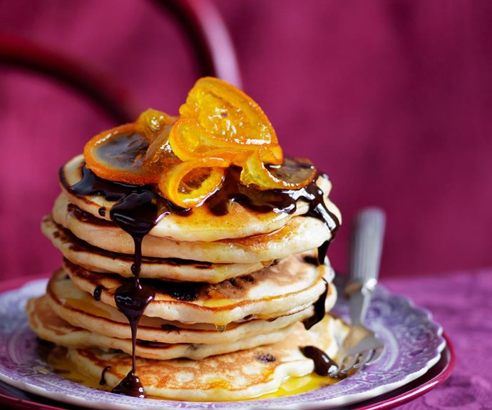 """**Julie Goodwin's jaffa pancakes** <br><br> Rise and shine with Julie Goodwin's jaffa pancakes! These heavenly treats are sweet, fluffy and delicious, and better yet, are super easy to make! <br><br> See the full *Australian Women's Weekly* recipe [here](https://www.womensweeklyfood.com.au/recipes/julie-goodwins-jaffa-pancakes-29245