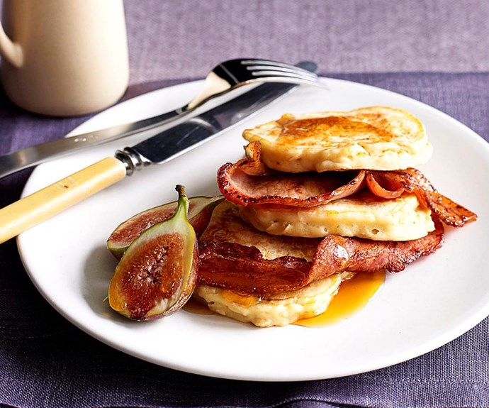"""**Oat pancakes with bacon and figs** <br><br> These fluffy oat and buttermilk pancakes marry crispy bacon and fresh figs for the perfect combination of sweet and savoury. For the final touch, add a drizzle of maple syrup. <br><br> See the full *Australian Women's Weekly* recipe [here](https://www.womensweeklyfood.com.au/recipes/oat-pancakes-with-bacon-and-figs-23923