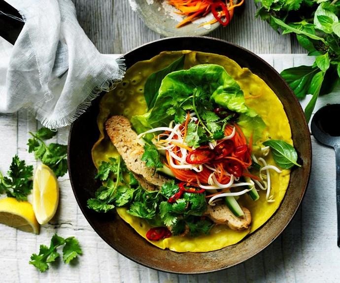 """**Vietnamese coconut and turmeric pancakes** <br><br> Full of authentic Vietnamese ingredients, these fresh and crispy pancakes, also known as banh xeo, make a satisfying vegetarian meal. <br><br> See the full *Australian Women's Weekly* [here](https://www.womensweeklyfood.com.au/recipes/vietnamese-coconut-and-turmeric-pancakes-29481