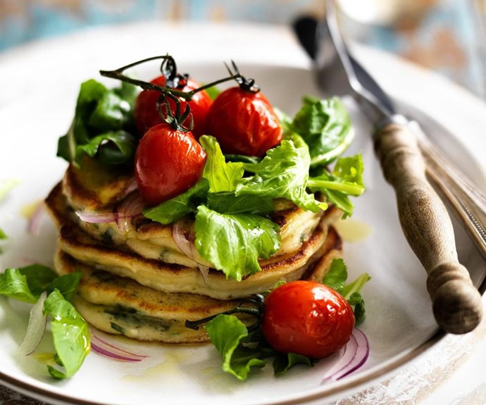 """**Ricotta and basil pancakes with tomato and rocket salad** <br><br> Yes, savoury pancakes can be just as delicious as sweet ones, and it's these ricotta and basil pancakes that are guaranteed to wow. Served with a tomato and rocket salad, this healthy, tasty meal is perfect for any time of day. <br><br> See the full *Australian Women's Weekly* recipe [here](https://www.womensweeklyfood.com.au/recipes/ricotta-and-basil-pancakes-with-tomato-and-rocket-salad-6242