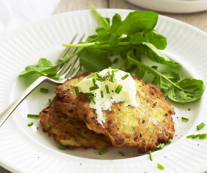 "**Sour cream and chive potato pancakes** <br><br> Kick start your day with these satisfying, flavour-packed pancakes, or serve them up as a late-afternoon snack for the family. They'll be a hit with kids and adults alike. <br><br> See the full *Australian Women's Weekly* recipe [here](https://www.womensweeklyfood.com.au/recipes/sour-cream-and-chive-potato-pancakes-3762|target=""_blank"")."