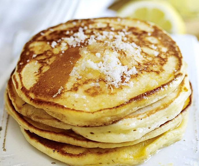 """**Lemon and sugar pancakes** <br><br> The humble pancake is a light and delicious blank slate for all manner of decadent toppings. Sometimes, the simple things in life are often the best. Ladies and Gentlemen, we give you: pancakes with lemon and sugar. <br><br> See the full *Australian Women's Weekly* recipe [here](https://www.womensweeklyfood.com.au/recipes/lemon-and-sugar-pancakes-10761