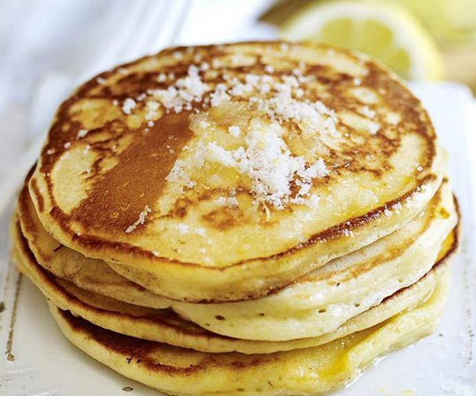 "**Lemon and sugar pancakes** <br><br> The humble pancake is a light and delicious blank slate for all manner of decadent toppings. Sometimes, the simple things in life are often the best. Ladies and Gentlemen, we give you: pancakes with lemon and sugar. <br><br> See the full *Australian Women's Weekly* recipe [here](https://www.womensweeklyfood.com.au/recipes/lemon-and-sugar-pancakes-10761|target=""_blank"")."