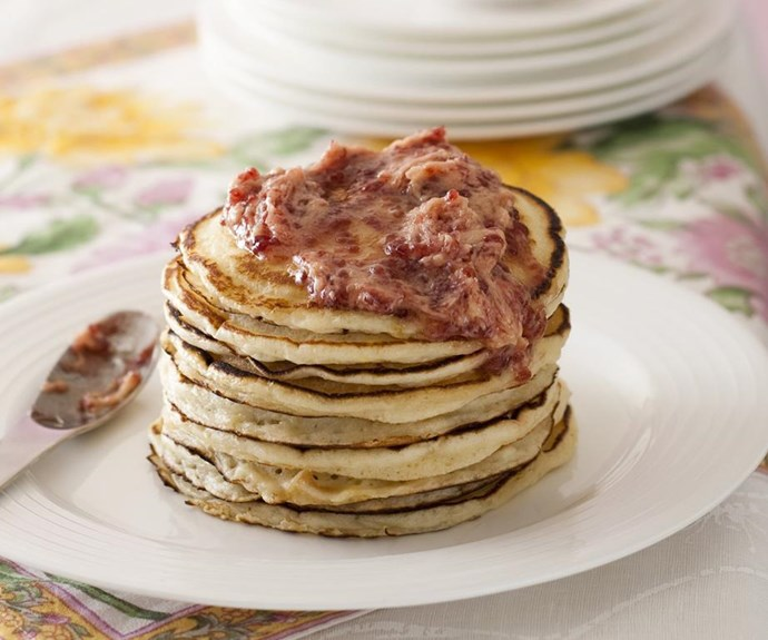"""**Buttermilk pancakes with raspberry butter** Thrill your family and friends this weekend with stacks of these delectable buttermilk pancakes with raspberry butter. The buttermilk adds tenderness and lightness to the batter and results in deliciously soft texture. <br><br> See the full *Australian Women's Weekly* recipe [here](https://www.womensweeklyfood.com.au/recipes/buttermilk-pancakes-with-raspberry-butter-15033