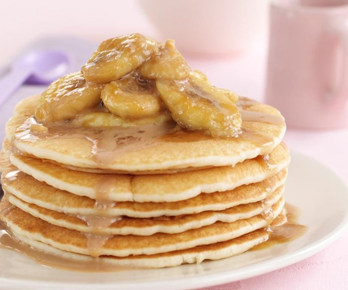"""**Banana pancakes with butterscotch sauce** <br><br> Butterscotch sauce takes this stack of pancakes topped with banana from the realms of delicious all the way to utterly decadent. <br><br> See the full *Australian Women's Weekly* recipe [here](https://www.womensweeklyfood.com.au/recipes/banana-pancakes-with-butterscotch-sauce-6351