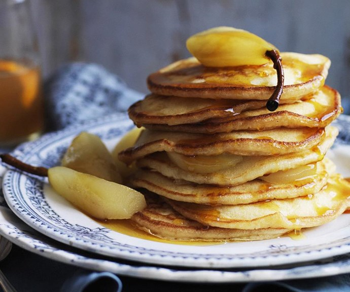 """**Buttermilk pancakes with poached pears** <br><br> A giant stack of these delicious autumnal pancakes is a divine way to start the day! <br><br> See the full *Australian Women's Weekly* recipe [here](https://www.womensweeklyfood.com.au/recipes/buttermilk-pancakes-with-poached-pears-8125