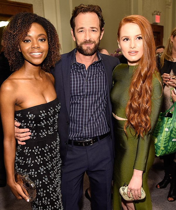 Perry would no doubt have been a mentor to his younger co-stars in the teen-drama. Here, he is pictured with *Riverdale's* Ashleigh Murray and Madelaine Petsch in 2018. *(Image: Getty)*