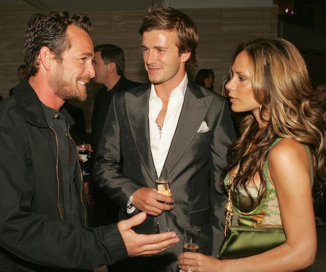 Connecting with more friends in high places, Luke also attended a 2005 launch party for the David Beckham Academy alongside Posh and Becks themselves! *(Image: Getty)*