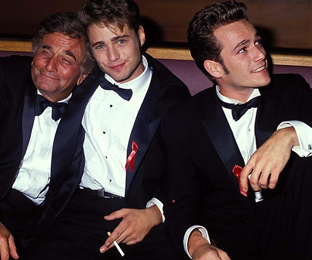 Suited up! Luke joined fellow American actors Peter Falk, Jason Priestley at the 1991 Emmy Awards. *(Image: Getty)*