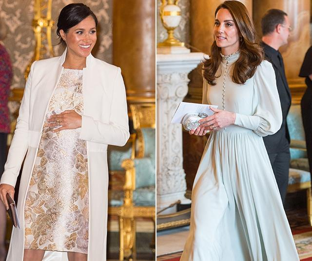 Duchesses Meghan and Catherine put on a dazzling display together at Buckingham Palace to celebrate a cause very close to home. *(Images: Getty)*
