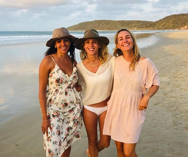 Luciana and Elsa smile on the beach with another friend. *(Image: Instagram @elsapatakyconfidential)*