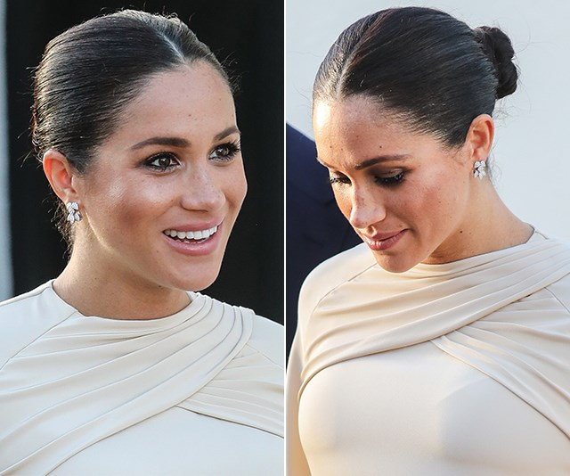 "Heavenly! Meghan's [slicked-back style during her official visit to Morocco](https://www.nowtolove.com.au/royals/british-royal-family/meghan-markle-morocco-outfit-fashion-54315|target=""_blank"") in January 2019 was second to none - especially when worn with her Dior gown."